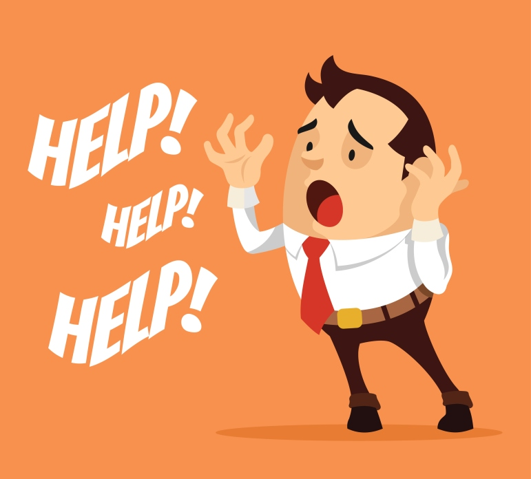 Man character need help. Vector flat cartoon illustration